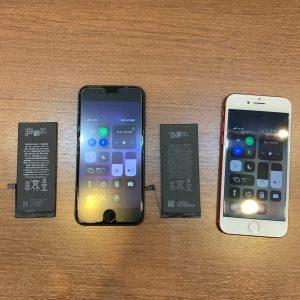 2台一緒にバッテリーを交換したiPhone7