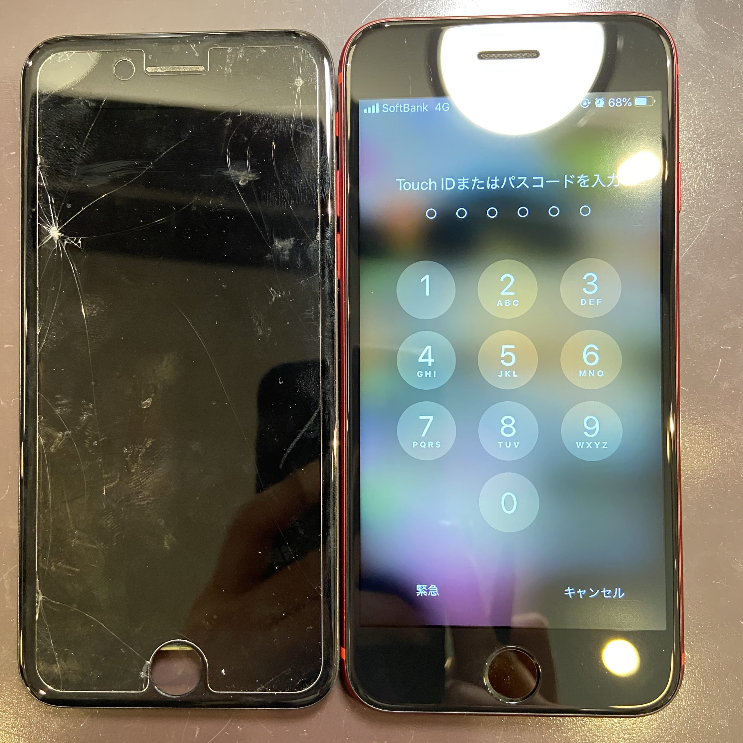 iPhoneSE2 画面割れ液晶漏れのお直し 佐賀市からご来店